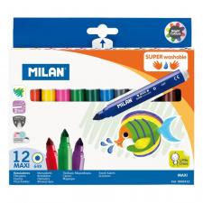"""Flomasteriai """"Milan 649"""", 12 spalvų, nuplaunami"""