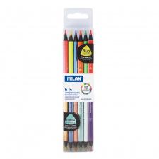 """Spalvinimo pieštukai """"Milan fluo"""", tribriauniai, dvipusiai 6sp"""