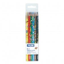 """Spalvinimo pieštukai   6 spalvų """"Milan Heroes SH"""""""