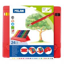 """Spalvinimo pieštukai """"Milan 231""""tribriauniai su pieštukinė, 24sp"""