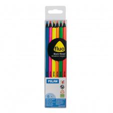 """Spalvinimo pieštukai """"Milan fluo"""" ,tribriauniai, 6sp"""