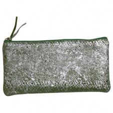 """Odinė piniginė """"Celeste"""" 22x11cm, stačiakampio formos, žalias sidabras"""