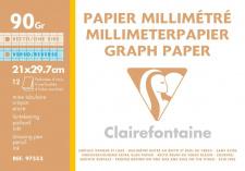 "Milimetrinis popierius ""Clairefontaine"" 90 g, A4, 12 l."