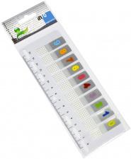 "Lipnūs žymikliai ""Info"" su liniuote, 44x12 mm, spalvoti numeriai, 10x10 l."