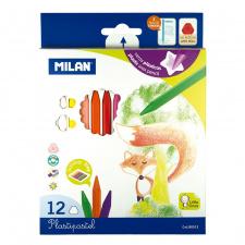 """Vaškinės kreidelės 12 spalvų """"Milan"""", neteplios"""