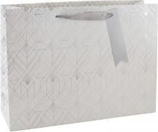 """Dovanų krepšelis L37x27 """"Eurowrap"""" baltas su pilku ornamentu"""