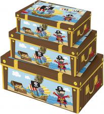 """Dovanų dėžutė """"Euro-X"""", 3 dydžių, su spynele, piratai"""