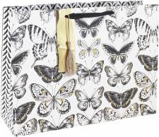 "Dovanų krepšelis L37x27 cm ""Eurowrap"" baltas su drugelio ornamentu"