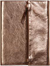 """Užrašų knygelė su naturalios odos aplanku""""Cuirise"""" 60 l., A5, linijos, bronzinės sp."""