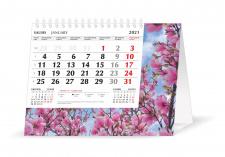Trikampis stalo kalendorius MOBILE SERVISS SAKŪROS 2021, 20,5x16 cm
