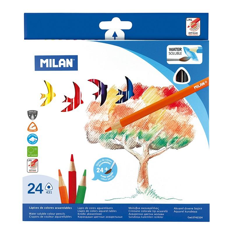 """Akvareliniai pieštukai """"Milan 431"""", su teptuku, 24sp"""