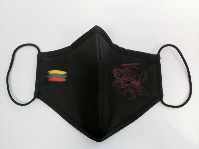 Apsauginė veido kaukė, 3 sluoksnių, daukartinė su logotipais, juoda