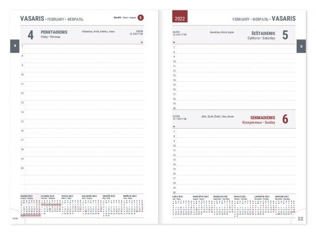 """Darbo kalendorius """"Manager"""" 2022, dieninis, A5, PU viršeliu"""