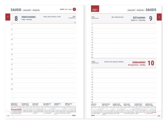 """Darbo kalendorius """"Manager"""" 2021, dieninis, A5, PU viršeliu"""