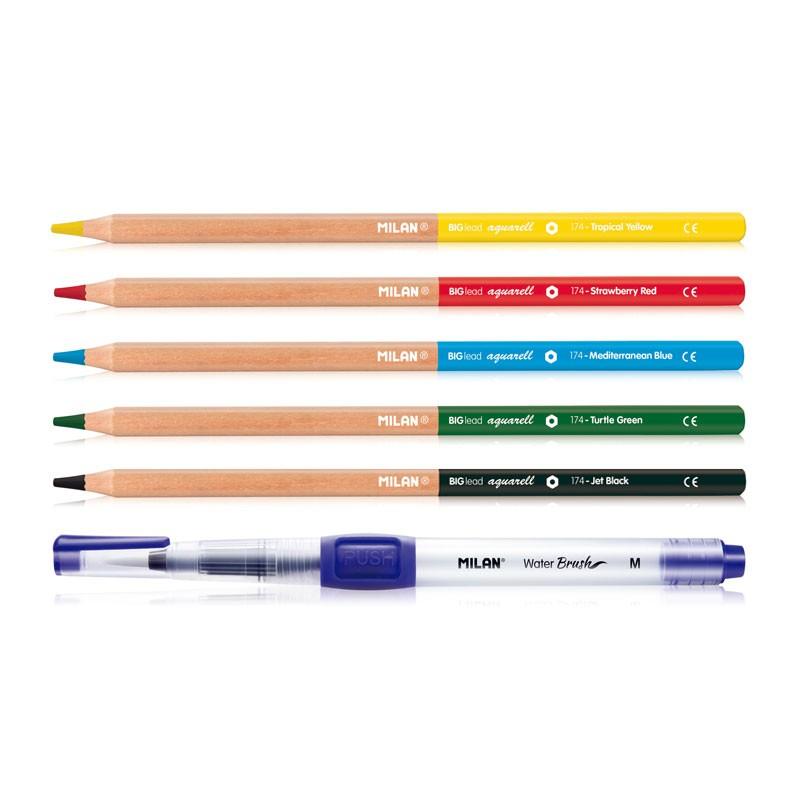 """Akvareliniai pieštukai """"Milan"""", vandens teptukas"""